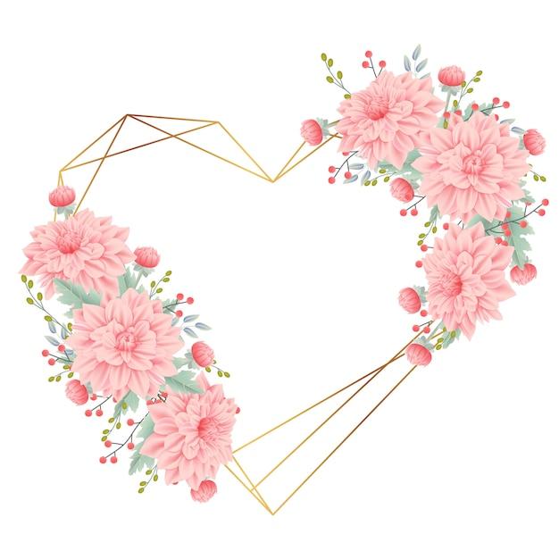Fundo de quadro floral com flor dália Vetor Premium