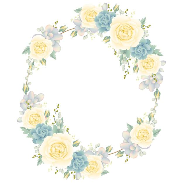 Fundo de quadro floral com rosa branca e suculenta Vetor Premium