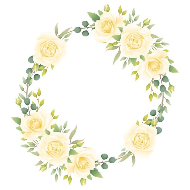 Fundo de quadro floral com rosas brancas Vetor Premium