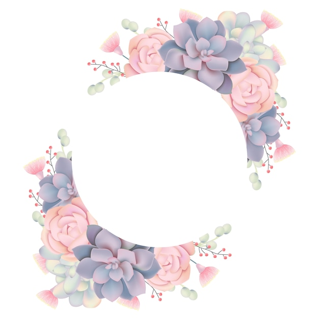 Fundo de quadro floral com suculentas Vetor Premium
