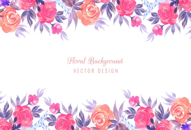 Fundo de quadro floral decorativo casamento colorido Vetor grátis
