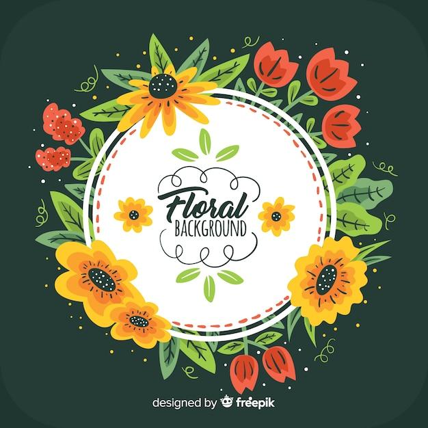 Fundo de quadro floral desenhado de mão Vetor grátis