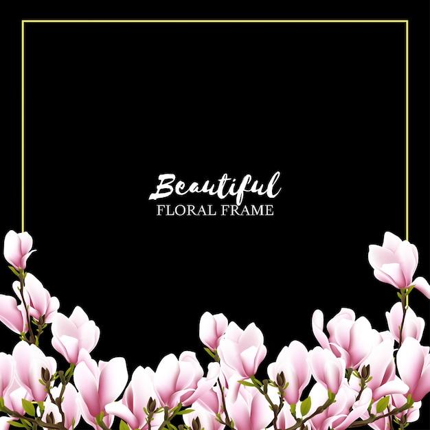 Fundo de quadro floral linda magnólia Vetor Premium