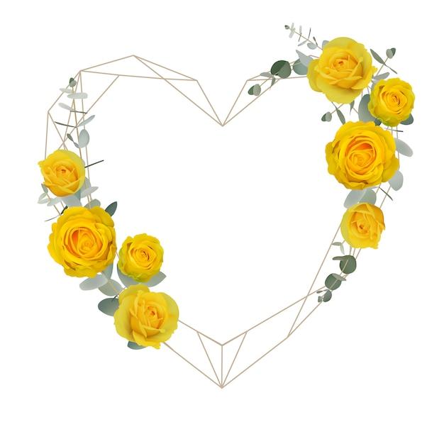 Fundo de quadro lindo amor com rosas amarelas florais Vetor Premium