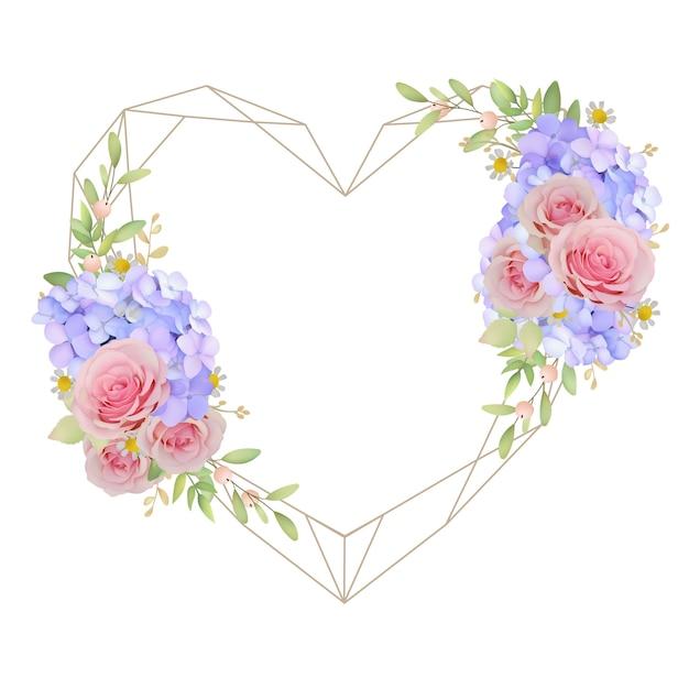 Fundo de quadro lindo amor com rosas e hortênsias florais Vetor Premium