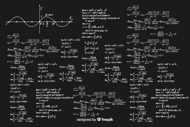 Fundo de quadro realista de matemática Vetor grátis