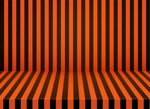 Fundo de quarto listrado laranja-preto de halloween. Vetor Premium