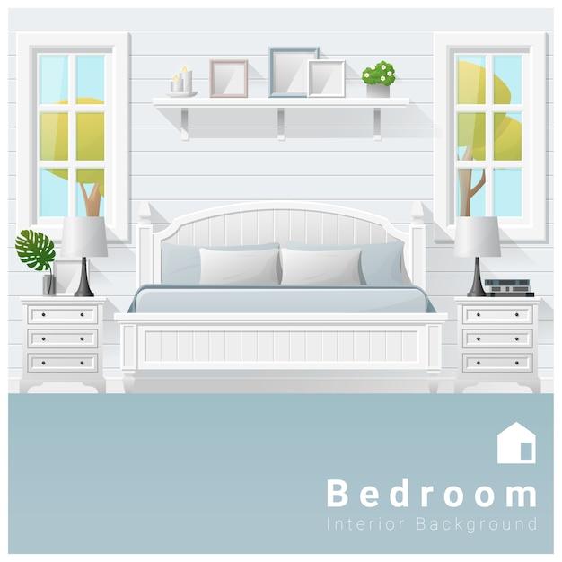 Fundo de quarto moderno design de interiores Vetor Premium