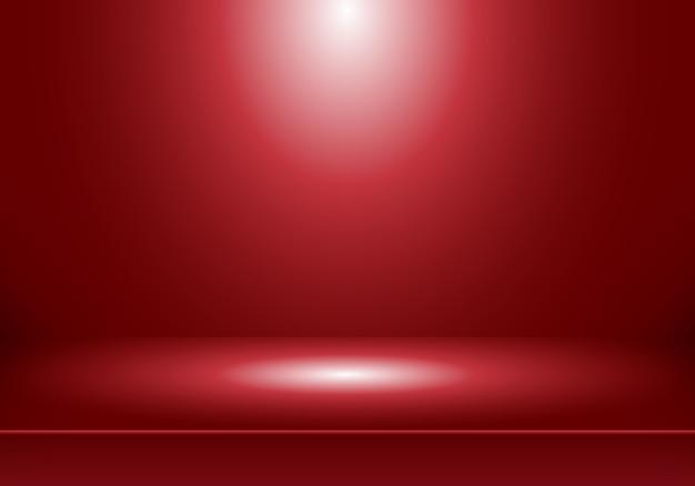 Fundo de quarto vermelho studio 3d Vetor Premium