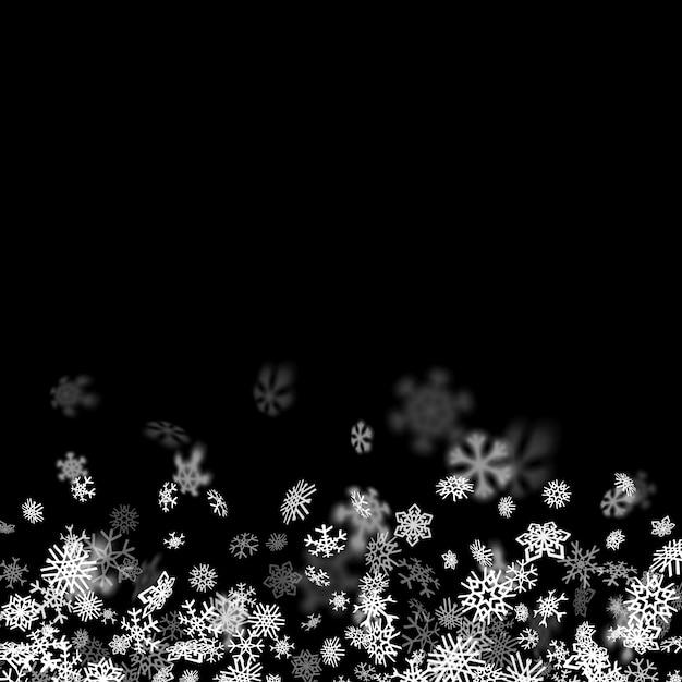 Fundo de queda de neve com flocos de neve turva no escuro Vetor Premium