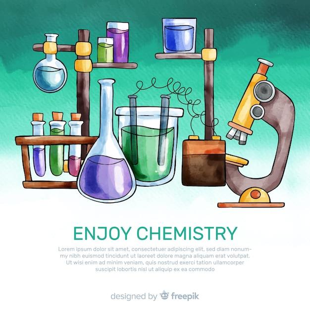 Fundo de química em aquarela Vetor grátis