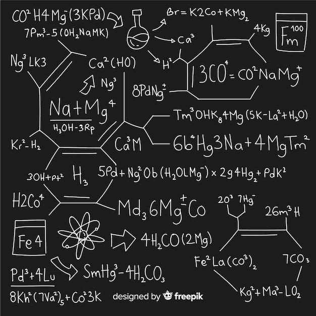 Fundo de química mão desenhada no quadro-negro Vetor grátis