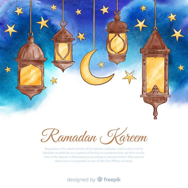 Fundo de ramadã aquarela Vetor grátis