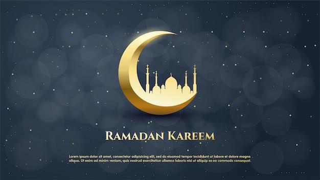 Fundo de ramadã com ilustração de lua e mesquita em ouro luxuoso. Vetor Premium