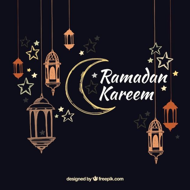 Fundo de ramadã com lâmpadas no estilo desenhado de mão Vetor grátis