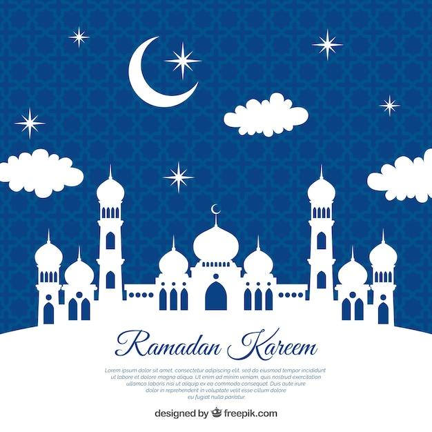 Fundo de ramadã com silhueta branca da mesquita Vetor grátis