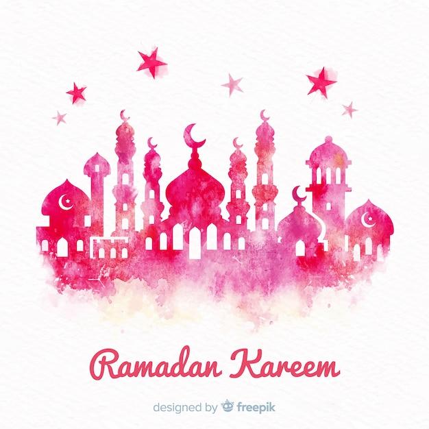 Fundo de ramadan aquarela Vetor grátis
