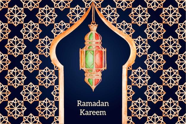 Fundo de ramadan em aquarela Vetor Premium
