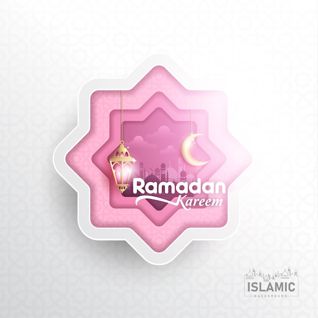 Fundo de ramadan kareem em papel arte ou papel cortado estilo vector Vetor Premium