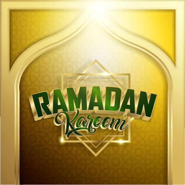 Fundo de ramadan kareem ouro Vetor Premium
