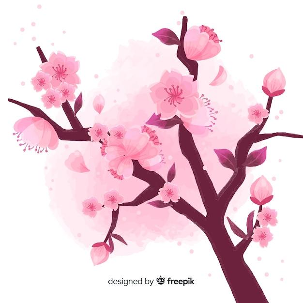 Fundo de ramo de flor de cerejeira Vetor grátis