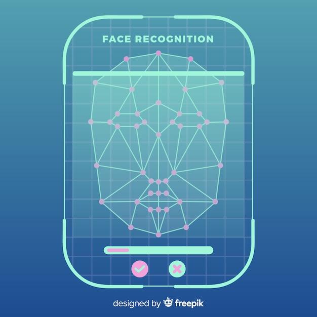 Fundo de reconhecimento de rosto liso abstrato Vetor grátis