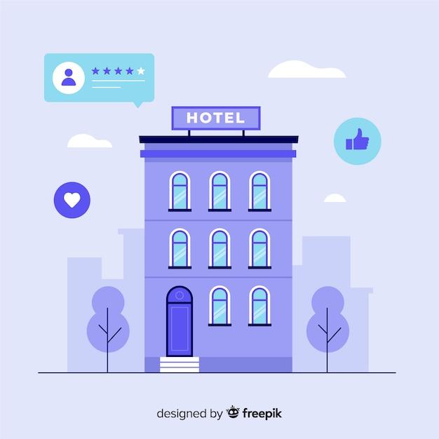 Fundo de revisão flat hotel Vetor grátis
