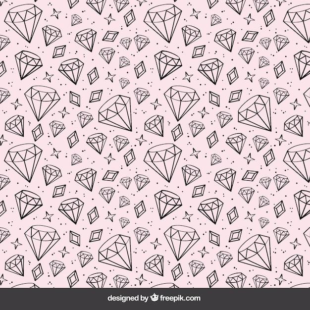 Fundo de rosa com mão desenhada diamantes Vetor grátis