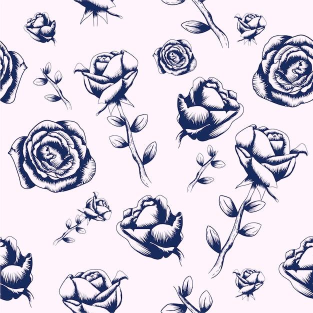 Fundo de rosas desenhadas à mão Vetor Premium