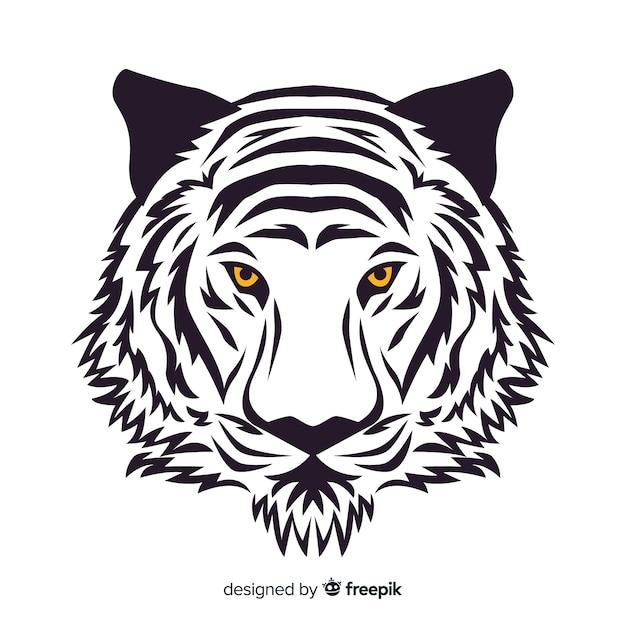Fundo de rosto de tigre de mão desenhada Vetor grátis