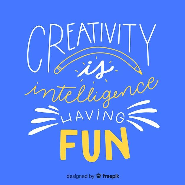 Fundo de rotulação de citação de criatividade mão desenhada Vetor grátis