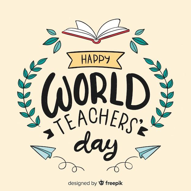Fundo de rotulação de dia do professor do mundo Vetor grátis