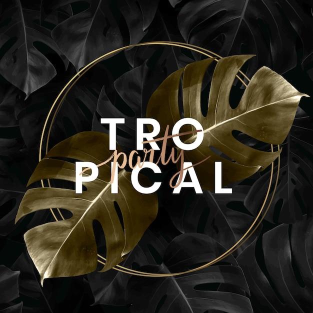 Fundo de rotulação de festa tropical Vetor Premium