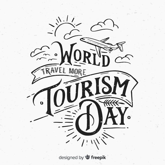 Fundo de rotulação do dia mundial do turismo Vetor grátis