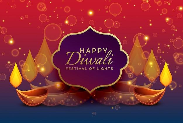 fundo de saudação de diwali com diya e brilhos Vetor grátis