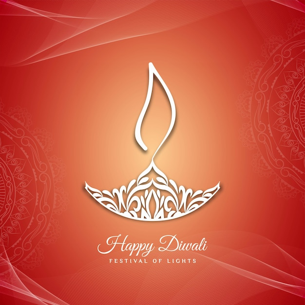 Fundo de saudação feliz festival de diwali feliz Vetor grátis