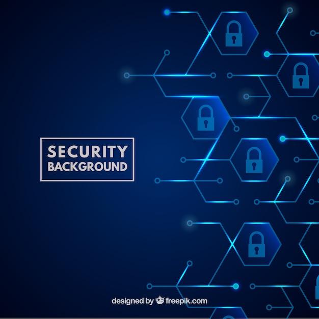 Fundo de segurança azul com cadeados Vetor grátis