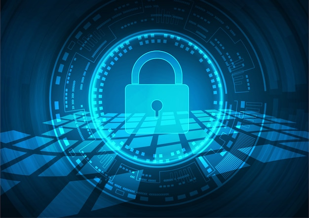 Fundo de segurança cibernética de tecnologia Vetor Premium