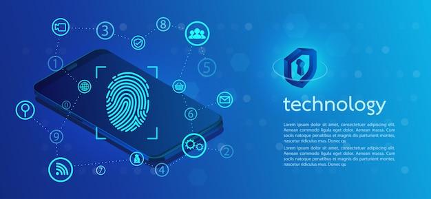 Fundo de segurança com trava digitalização com impressão digital. Vetor Premium
