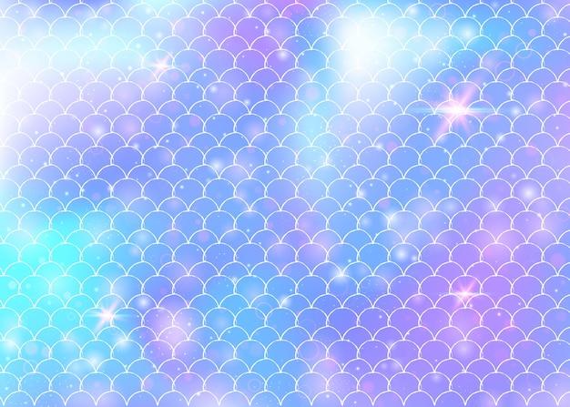 Fundo de sereia com fundo de escalas de arco-íris kawaii. rabo de peixe com brilhos mágicos e estrelas de fundo Vetor Premium