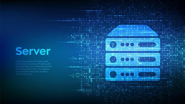 Fundo de servidor e armazenamento de dados. ícone do servidor do computador feito com código binário. s Vetor Premium