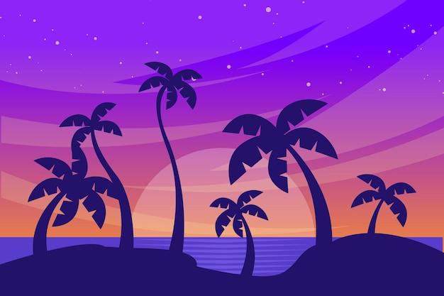 Fundo de silhuetas de palmeiras Vetor grátis