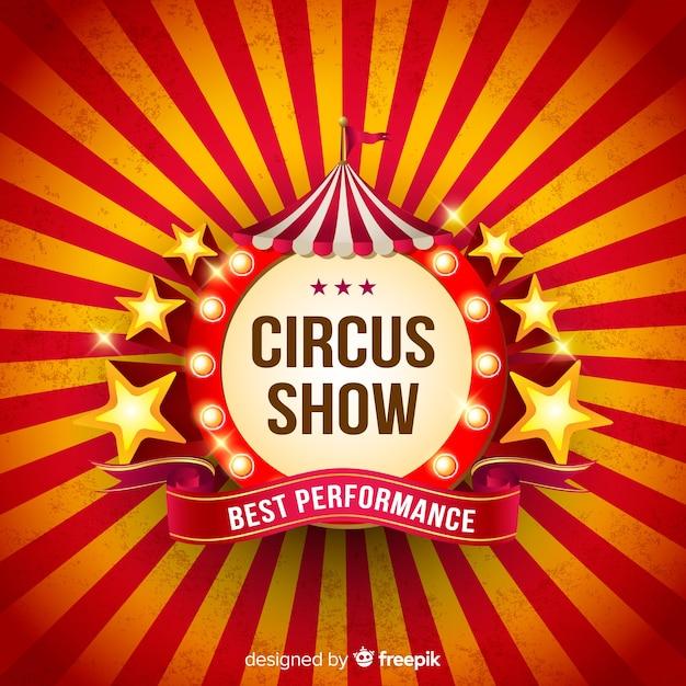 Fundo de sinal de luz de circo vintage Vetor Premium