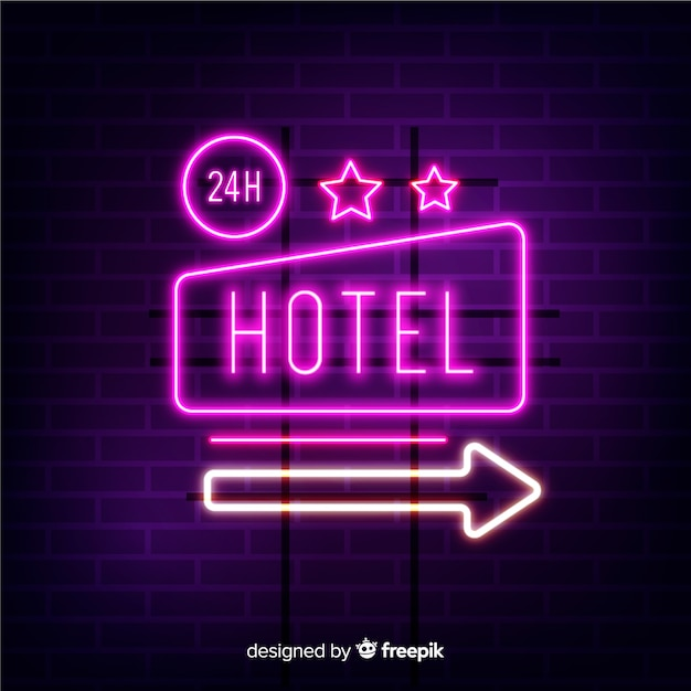 Fundo de sinal de néon de hotel realista Vetor grátis