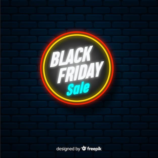 Fundo de sinal de néon preto venda sexta-feira Vetor grátis