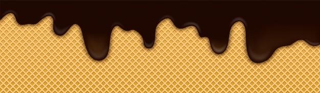 Fundo de sorvete de cacau chocolate com bolacha Vetor Premium