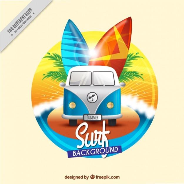 Fundo de surf caravana vintage Vetor grátis