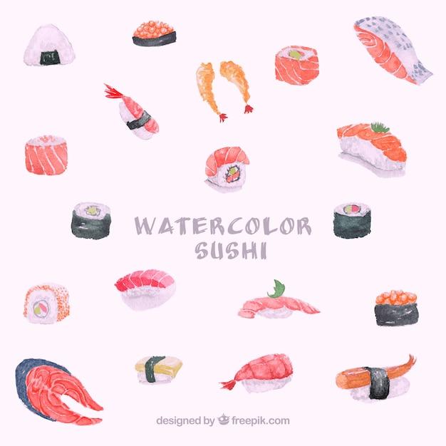 Fundo de sushi em aquarela Vetor grátis