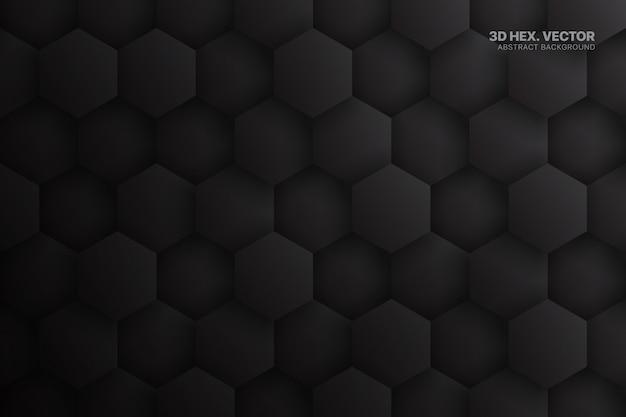 Fundo de tecnologia abstrata cinza escuro de hexágonos Vetor Premium