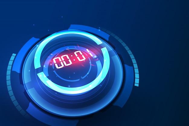 Fundo de tecnologia com contagem regressiva e timer digital Vetor Premium